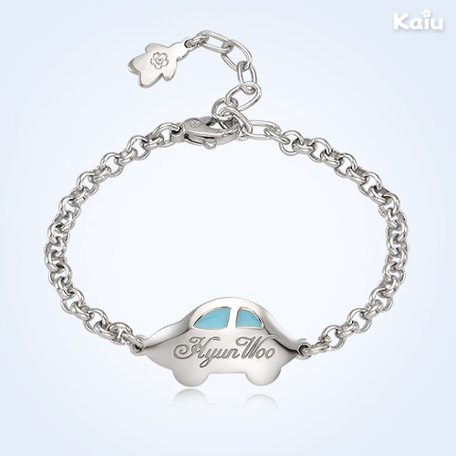 Baby Boy Jewelry Silver Anddy Car Blue Engravable Bracelet 3 3mm Belcher Chain 13cm International Shipping Available