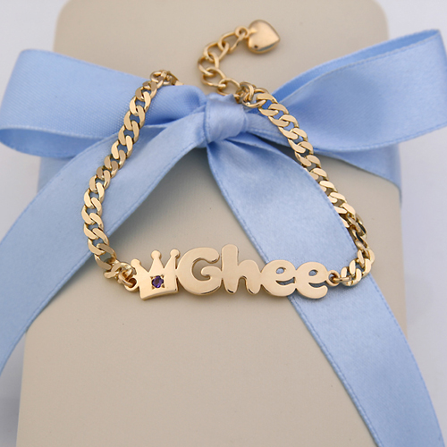 Gold Baby Name Bracelets 14k Yellow Gold B01 Crown Name