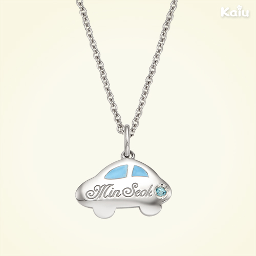 Silver Car Pendant(Blue) Necklace,2.4mm Cable Chain,37cm