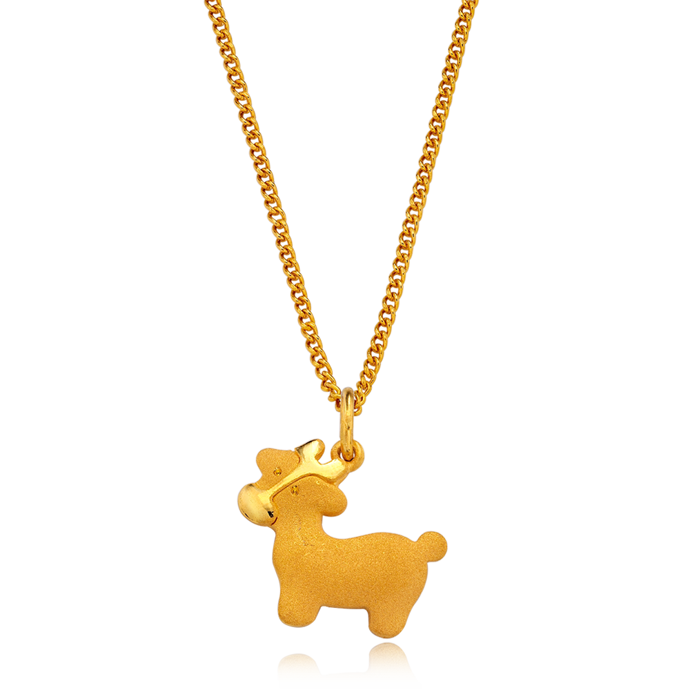24K Pure gold baby  Oriental Zodiac Ox Necklace