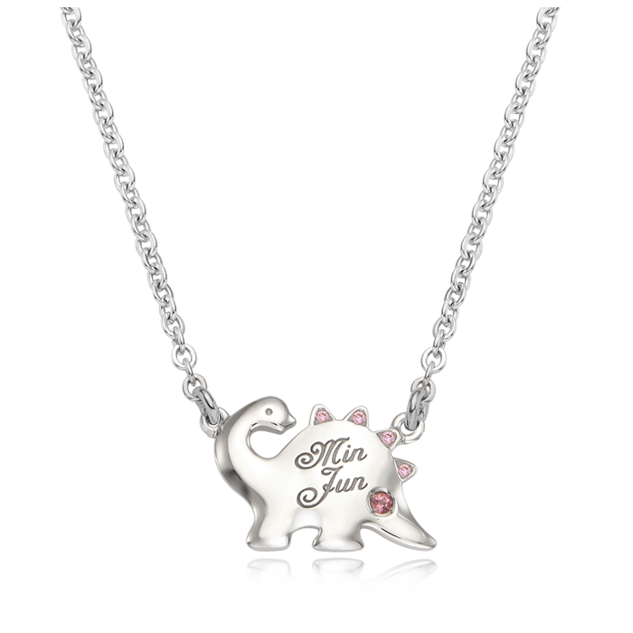 Dinosaur Pink Cubic Birthstone Silver Anti-lost necklace
