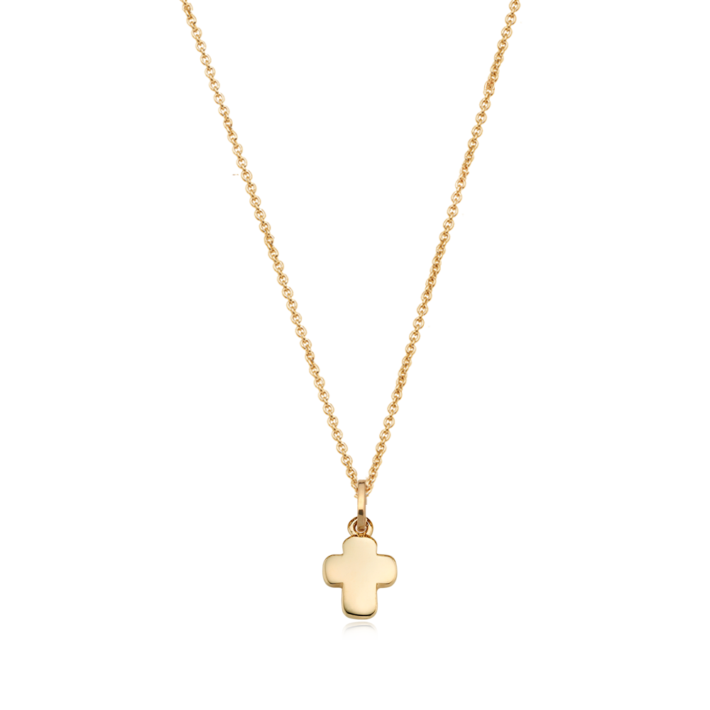 14K/18k Yellow Gold Mini Cross Necklace-Personalised Jewellery