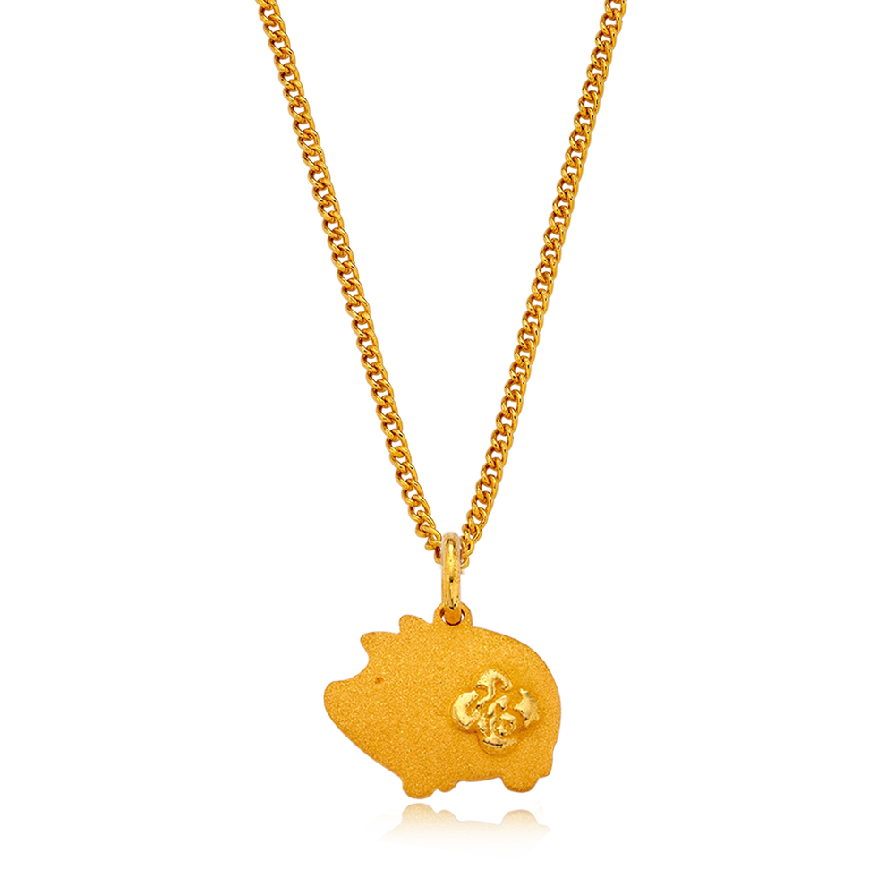 24K Pure gold baby  Oriental Zodiac Pig Necklace