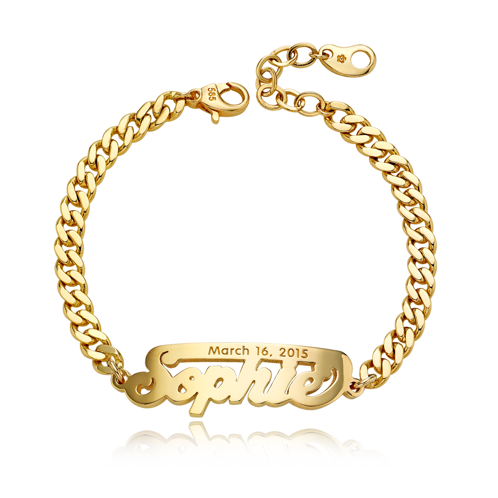 14K / 18K Gold Grace Stick Name Bracelet-4.0mmCurb Chain