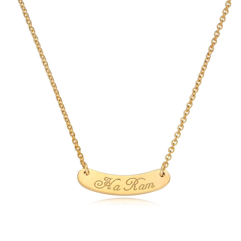 14K/18K Kaiu Stick Name Bar Anti-lost Necklace-Cursive