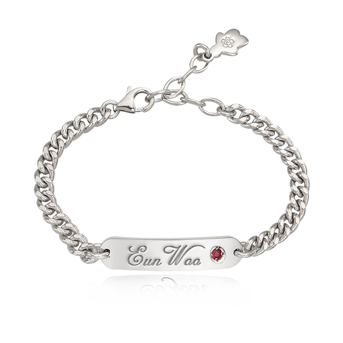 Kaiu Silver Stick Name Bar Anti-lost Bracelet-Cursive