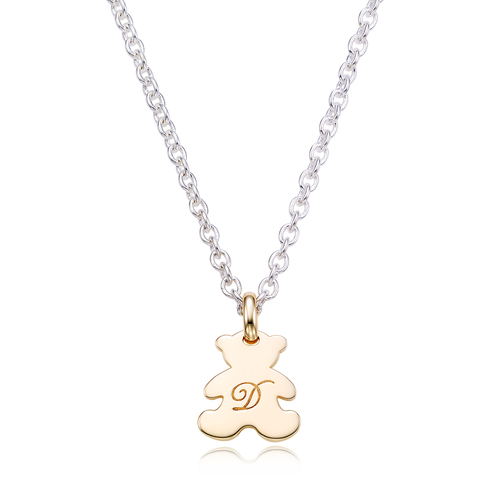 [For Kids] 5K gold teddy bear pendant and silver chain engraved necklace