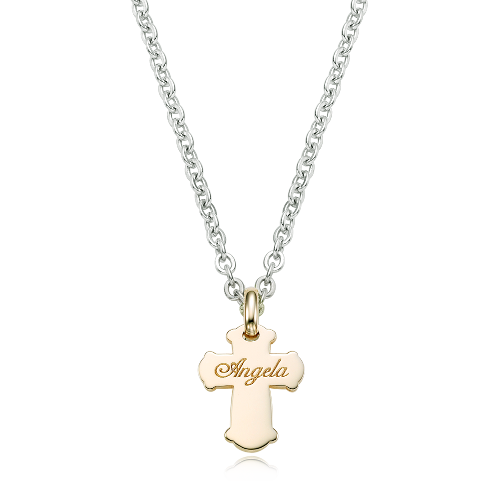 [For Kids] 5K Gold Cross & Silver Chain Engraved Necklace-Baptism Gift