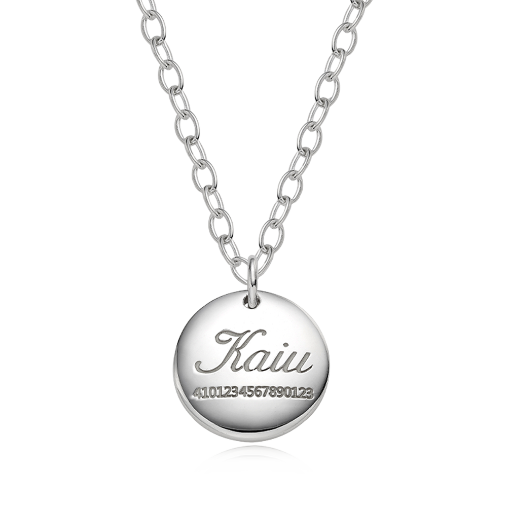 [Large Dog] Silver Pet ID Tag Modern Round Necklace-4.0 Cable Chain