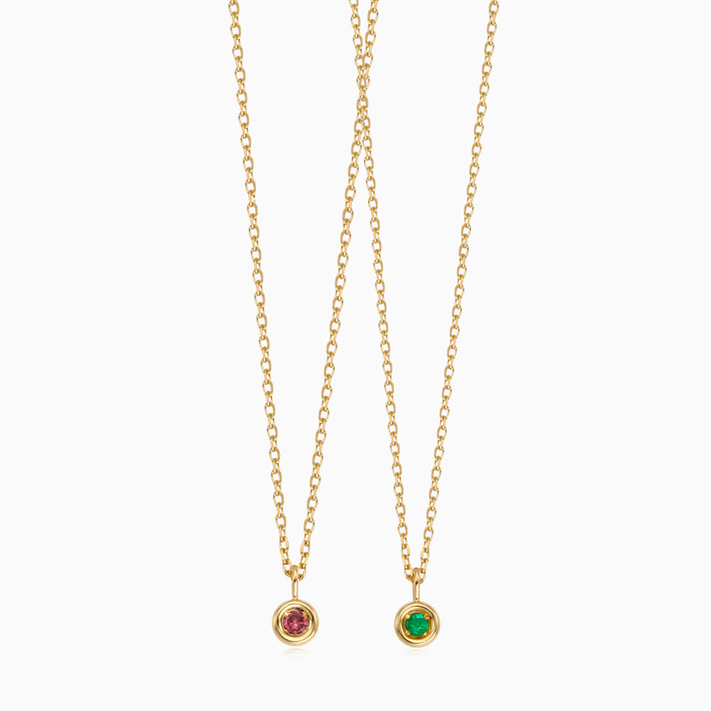[With my friend] 14K/18K Gold Birthstone Necklace