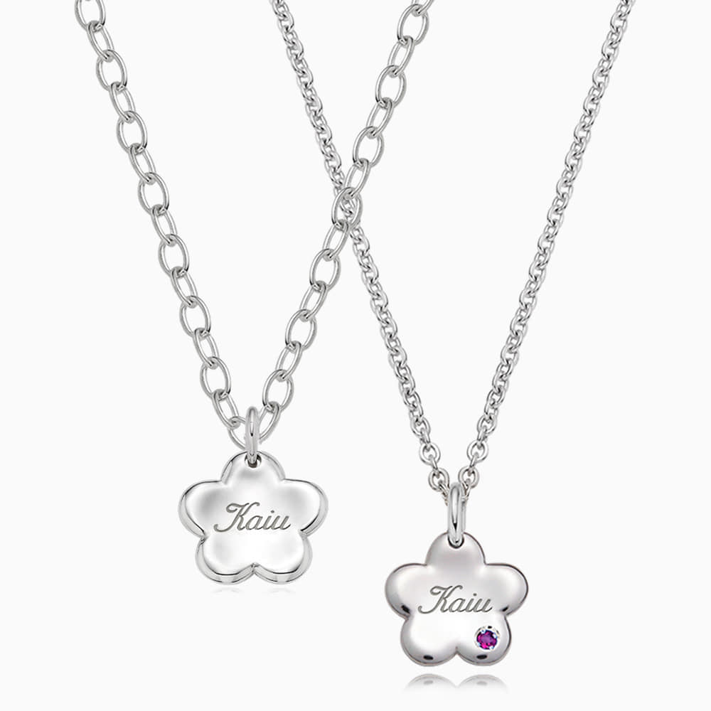 [With my Pet] Silver Baby Flower Necklace (Small)