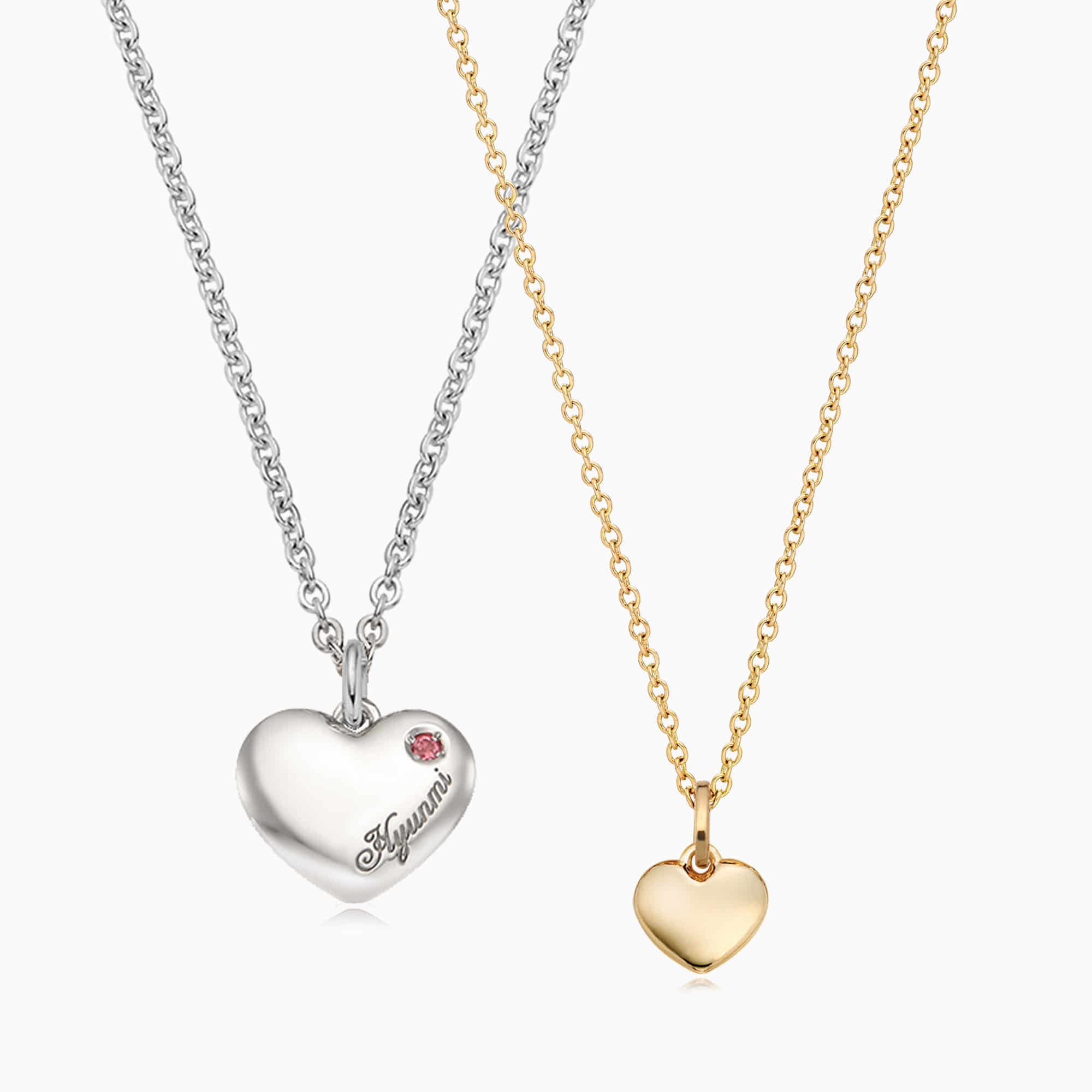 [With My Child] Silver/ 14K/18K Simple Heart Necklace