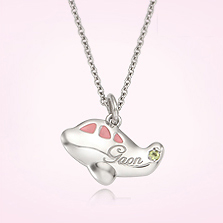 Silver Little Plane Pendant Baby Necklace (Pink), 2.4mm Cable Chain,37cm