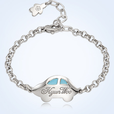 Product Baby Boy Jewelry Silver Anddy Car Blue Engravable Bracelet 3 3mm Belcher Chain 13cm