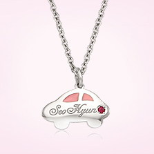 Silver Car Pendant Baby Necklace (Pink), 2.4mm Cable Chain,37cm