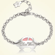 Silver Anddy Car(Pink) Engravable Baby Bracelet,3.3mm Belcher Chain,13cm