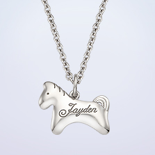 Silver simple Horse Pendant Necklace,2.4mm Cable Chain,37cm