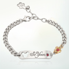 Silver Baby ID Plate(Alleyn) Bracelet with 5K Gold Flower, 4.0mm Curb Chain, 16cm