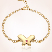 14k Yellow Gold Newborn Butterfly Engravable Baby Bracelet
