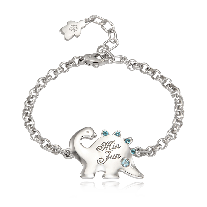 Silver Dinosaur Blue Cubic Prevention Bracelet