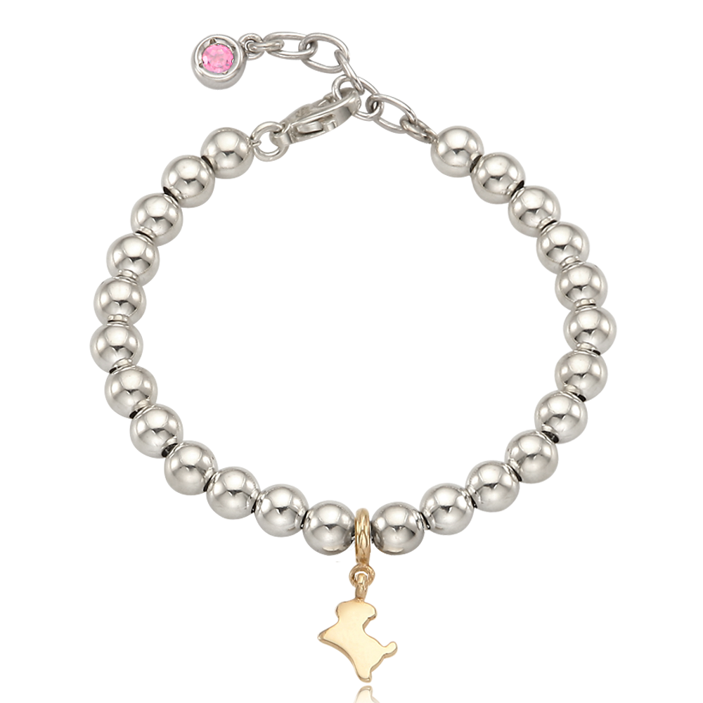 5K Gold Mini Dog Charm Sterling Silver Bead Birthstone Bracelet