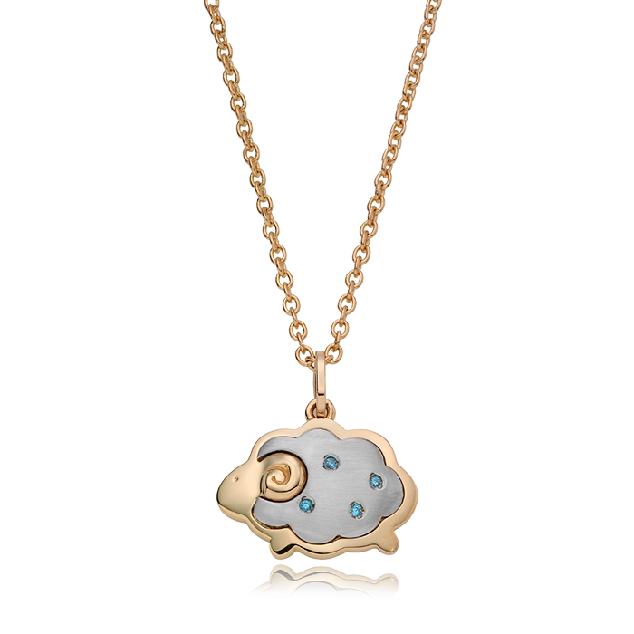 14K/18K Gold Oriental Zodiac Sheep(Blue) Necklace