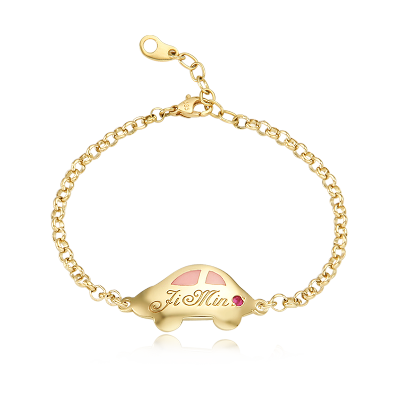 14K / 18K Gold Andy Car Pink Baby Bracelet