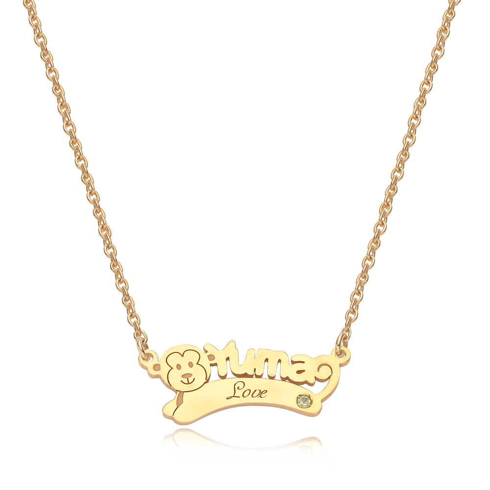 14K/18K Gold Oriental Zodiac Monkey Name Necklace