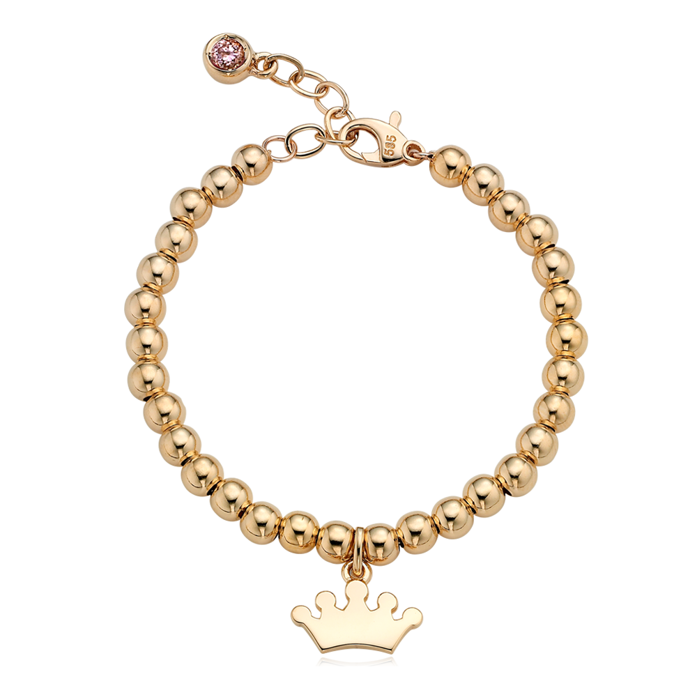 14K / 18K Gold Tiara Pendant 4.0mm Ball Birthstone Bracelet[12+2.5cm]