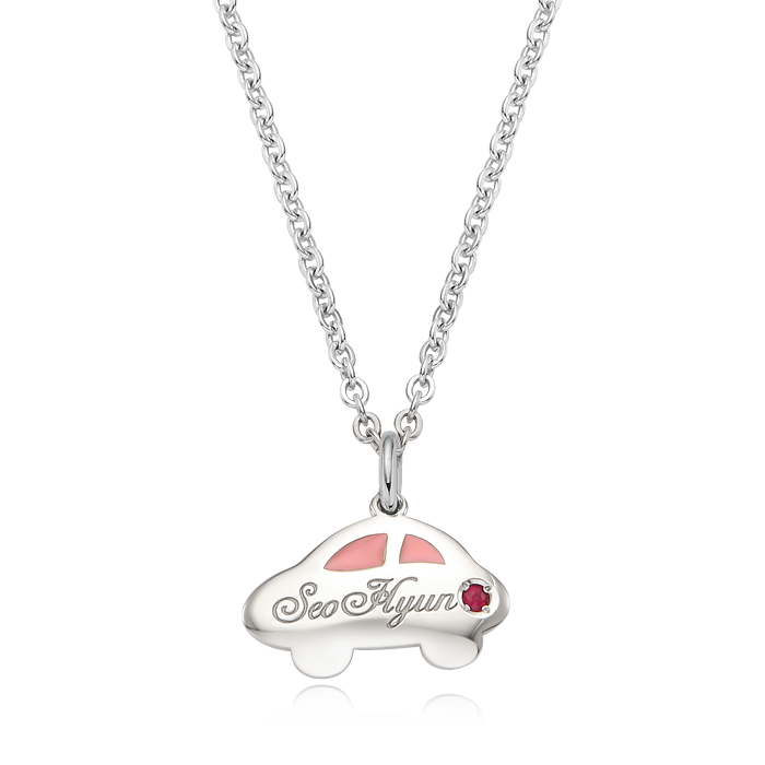 Car Birthstone Silver Necklace(Pink)/ Lost Child Prevention Necklace