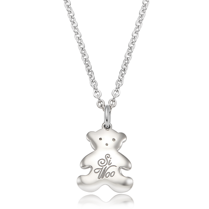 Teddy Bear Baby Silver Necklace