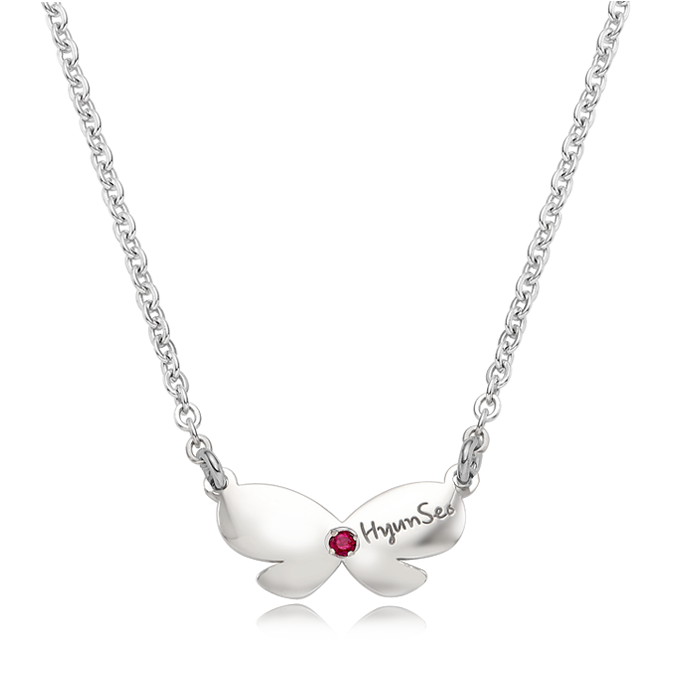 Silver Birthstone Ribbon Girls Necklace