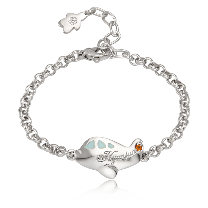 Silver Kid Airplane Blue Baby Bracelet