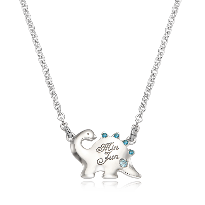 Dinosaur Blue Cubic Silver Lost Child Prevention Necklace