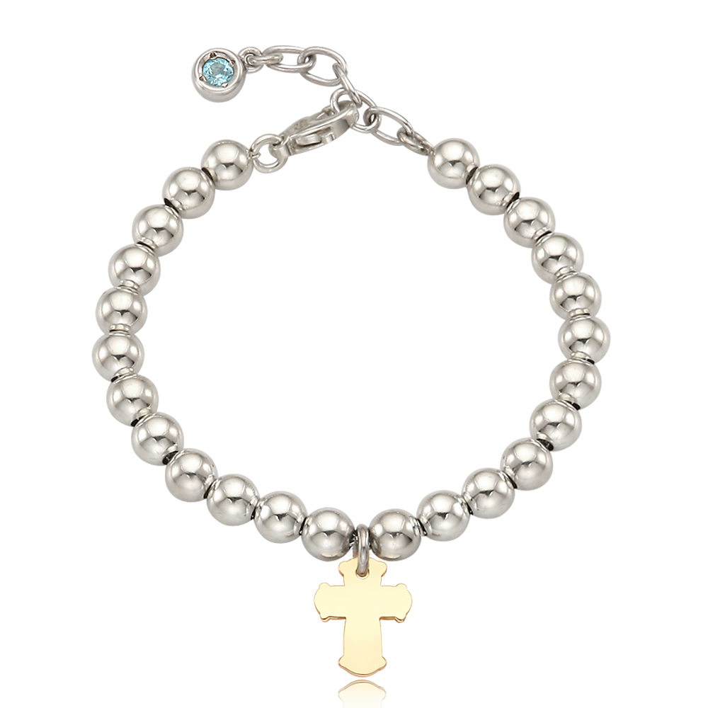 5K Gold Cross Charm Sterling Silver Bead Birthstone Bracelet [ Personalized Engraving ]