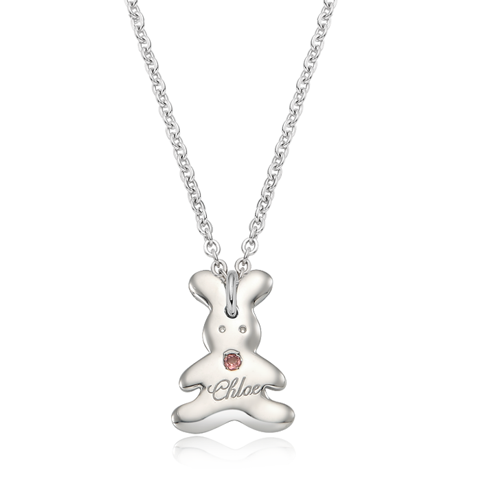Bunny Bin Rabbit Birthstone Silver Necklace/ Lost Child Prevention Necklace