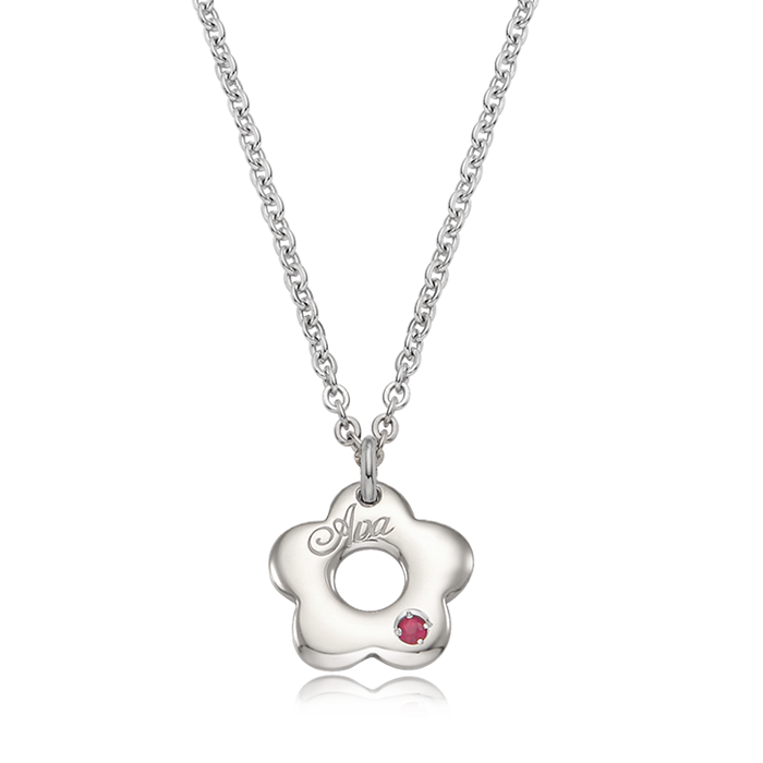 Silver donut flower girl child necklace