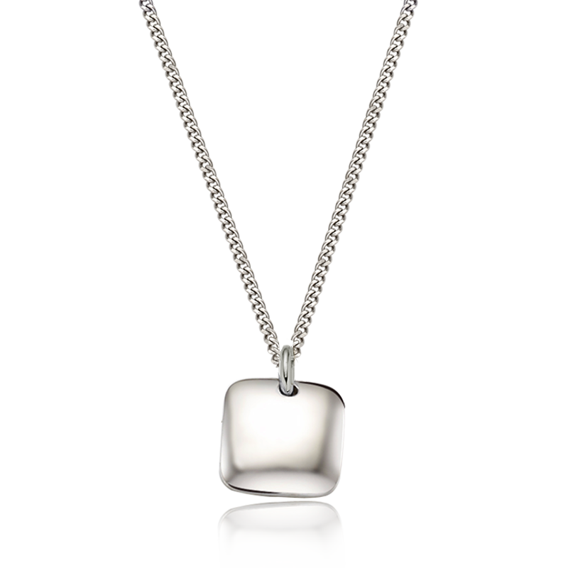 Kaiu Modern shape square silver necklace (CurbChain)