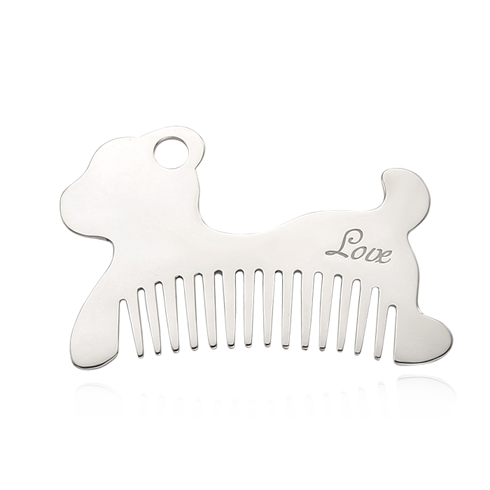 Engravable Baby Gifts - Silver Baby Dog Comb