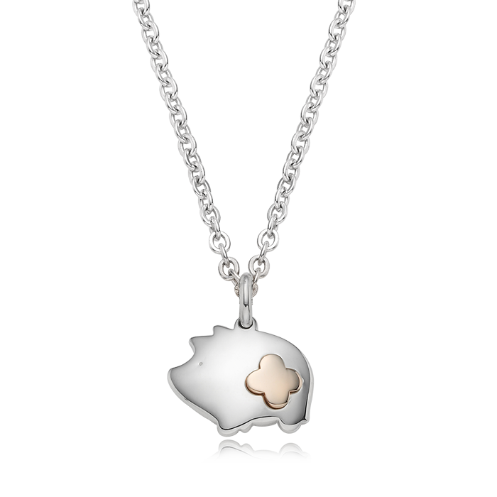 5K GOLD Oriental Zodiac Pig Baby Silver Necklace