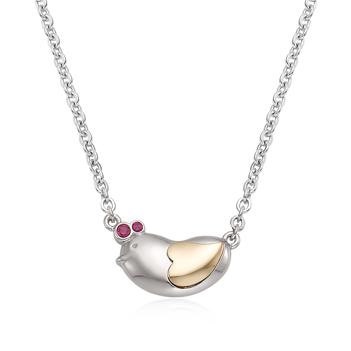 5K GOLD Oriental Zodiac Chicken Baby Silver Necklace