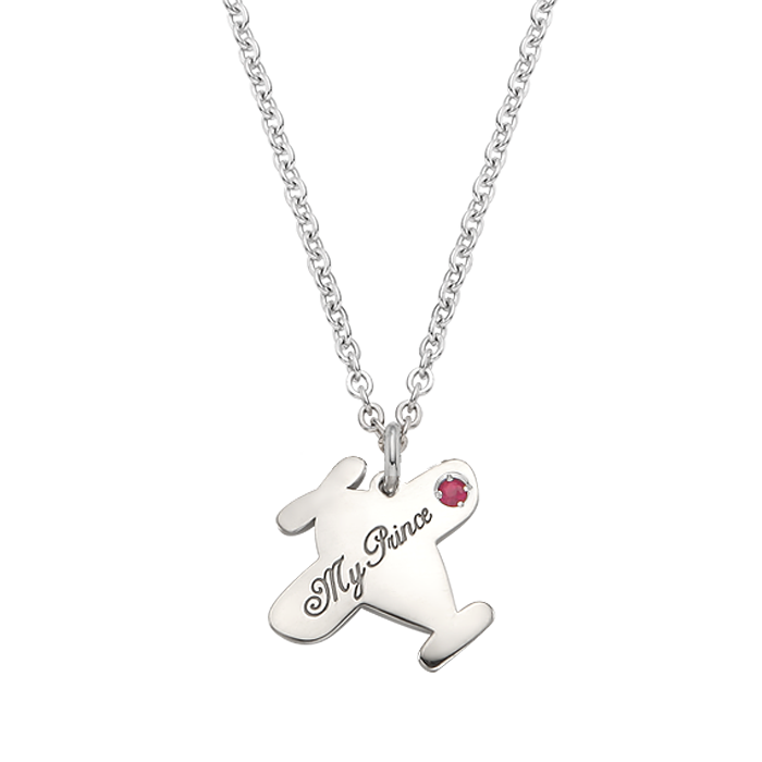 Silver B339 airplane necklace