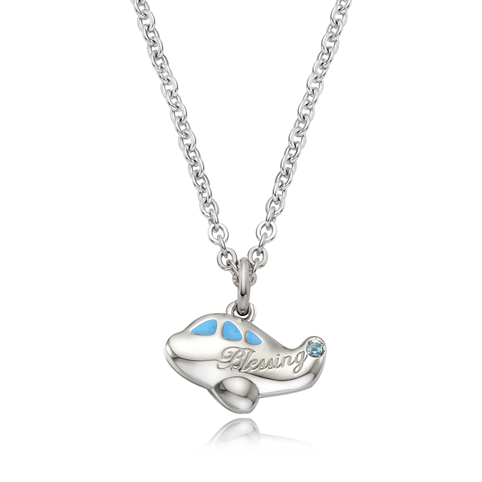 Silver Baby Plane Blue Baby Necklace