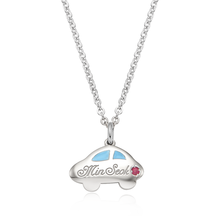 Silver Car Blue Birthstone  Baby Necklace