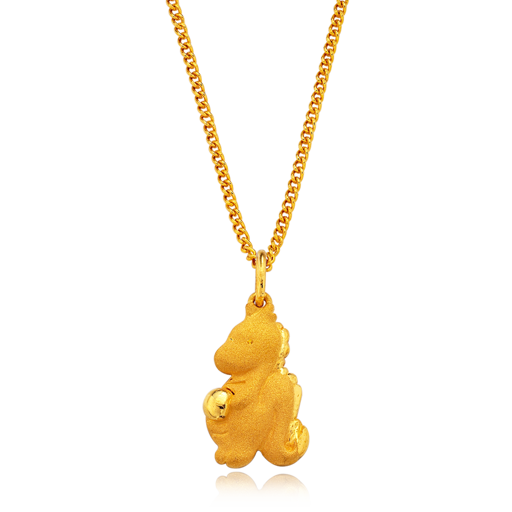 24K Pure gold baby  Oriental Zodiac Dragon Necklace