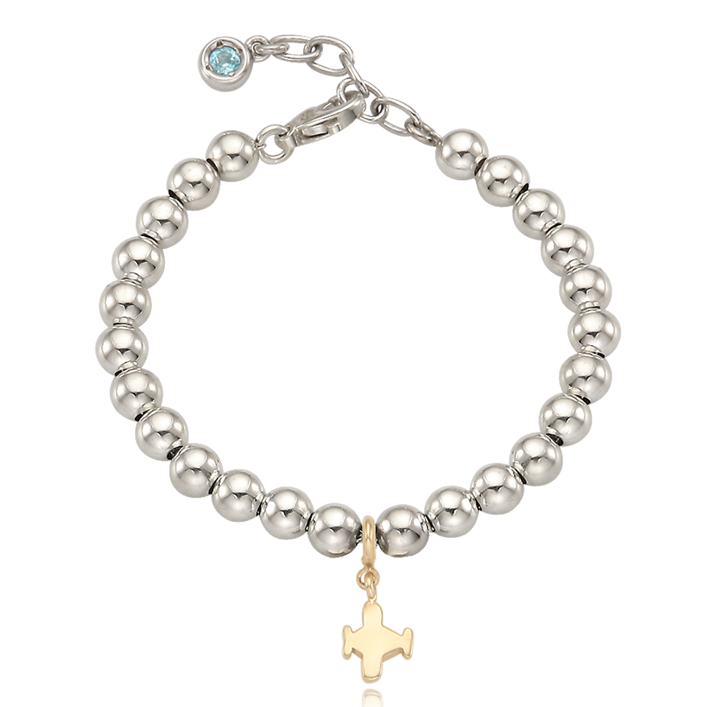 5K Gold Mini Airplane Charm Sterling Silver Bead Birthstone Bracelet