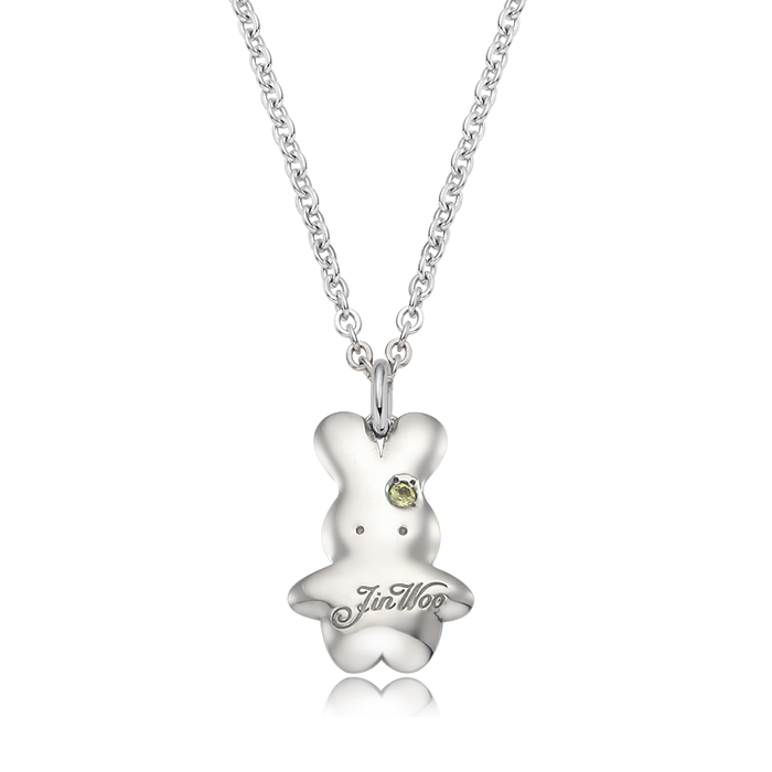 Baby rabbit birthstone Silver necklace