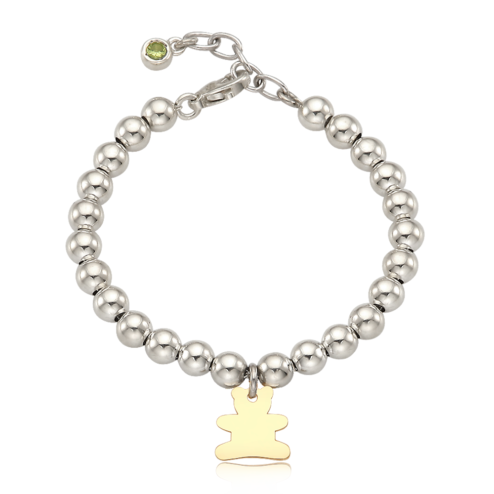 5K Gold Bear Charm Sterling Silver Bead Birthstone Bracelet [ Personalized Engraving ]