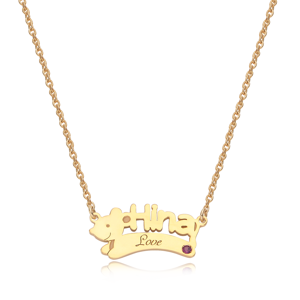 14K/18K Gold Oriental Zodiac Rat Name Necklace