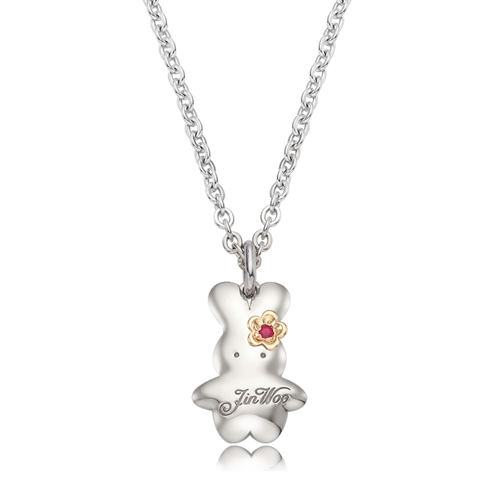 Baby Rabbit Birthstone Silver Necklace with a 5K flower charm/ Lost Child Prevention Necklace